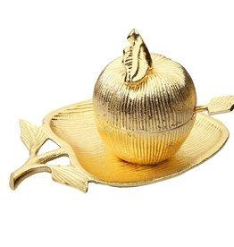 Gold Apple Honey Dish & Plate Small