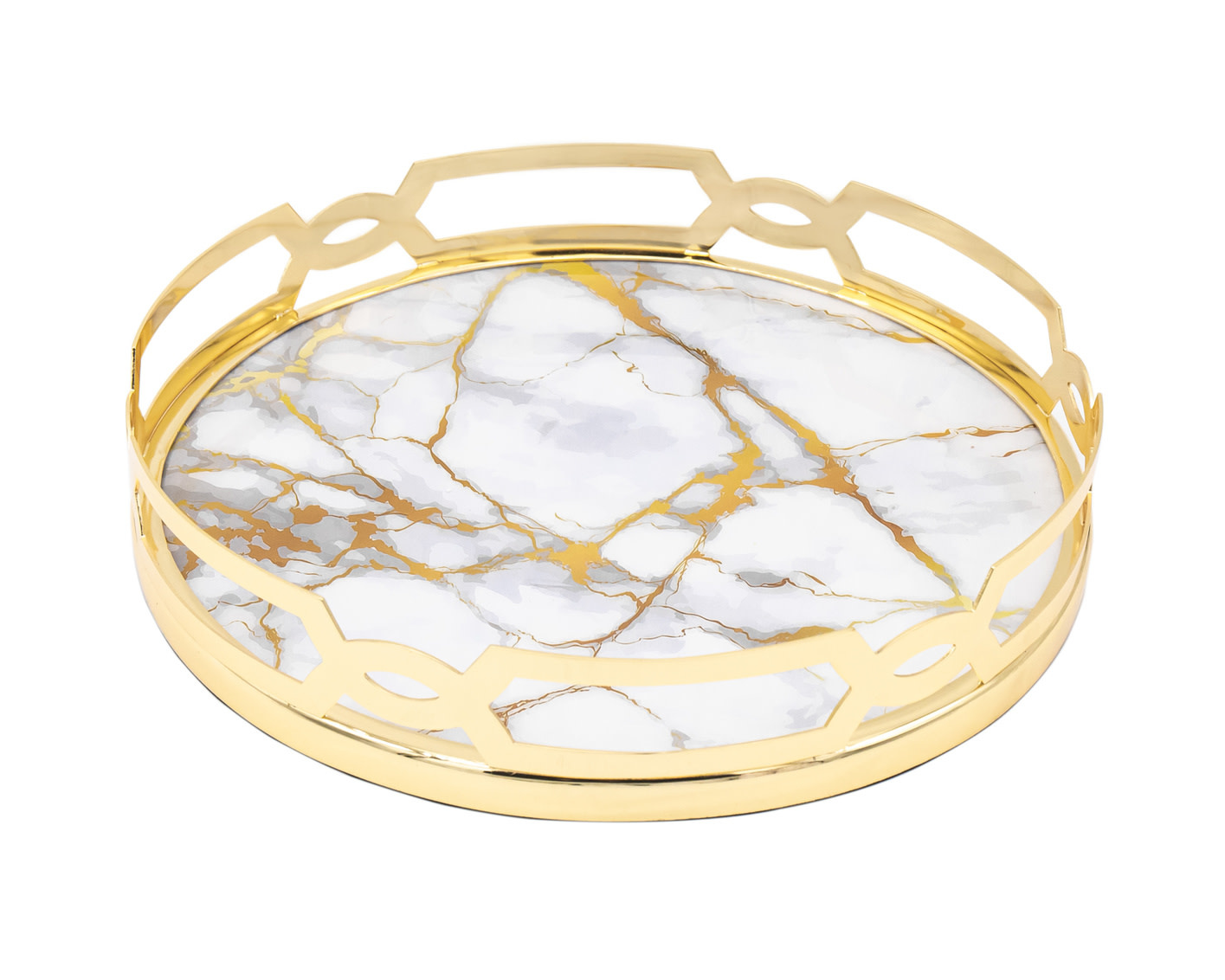 White Gold Marble Design Tray