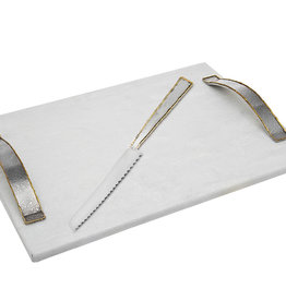 Golden Frost White Marble Challah Board