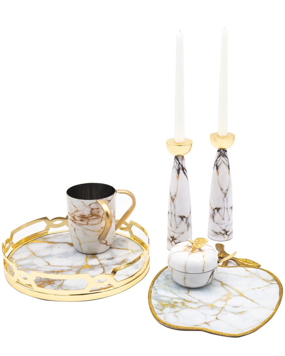 White Gold Marble Candlesticks