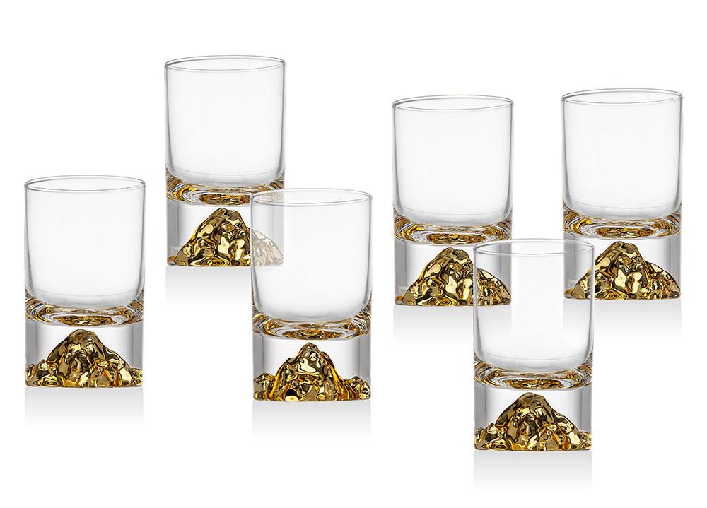 Godinger Silver Art Co Sierra Gold Shot Glasses s/6