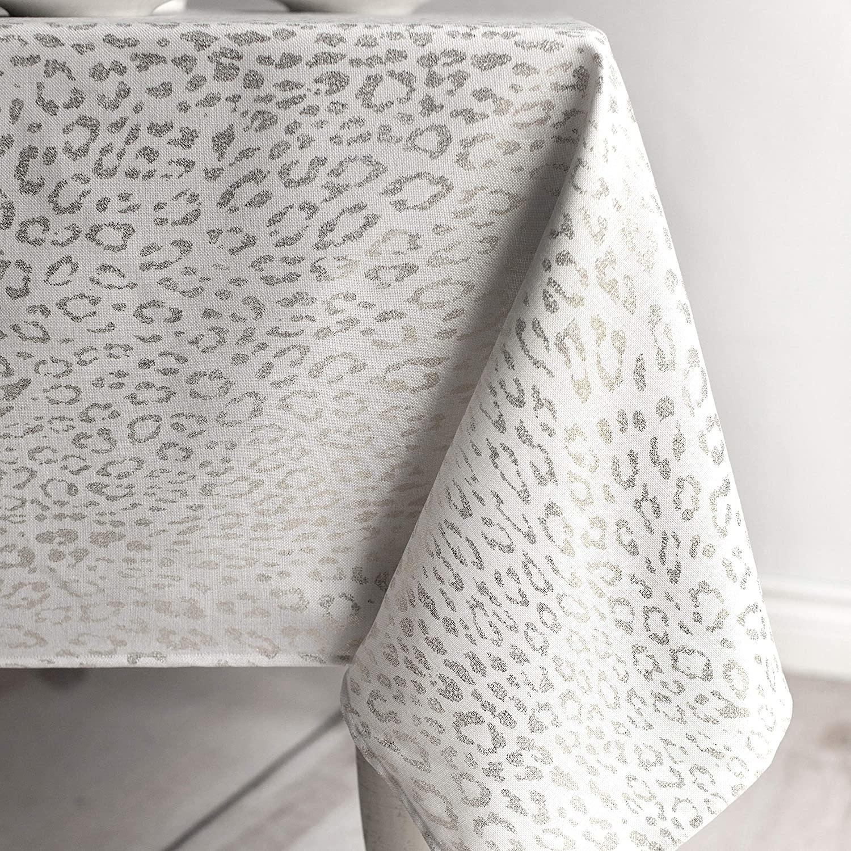 Tamali Metallic Silver Blend Tablecloth 60 x 84