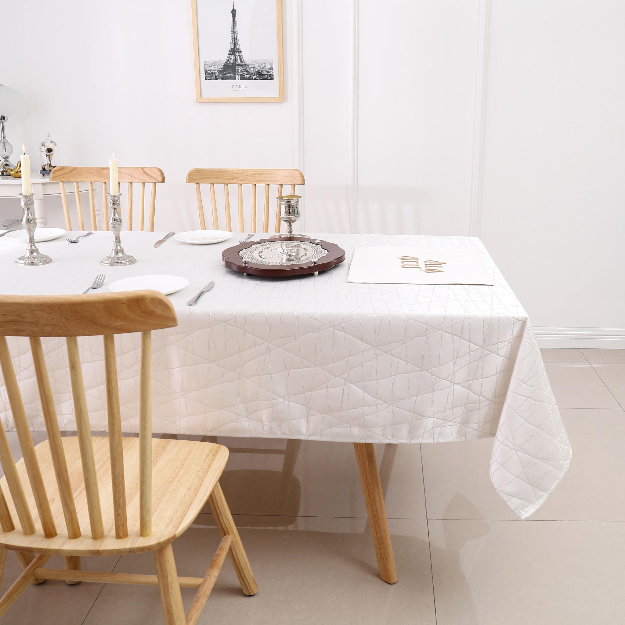 TC1334- 70 x 144 Jacquard White Gold Rays Tablecloth