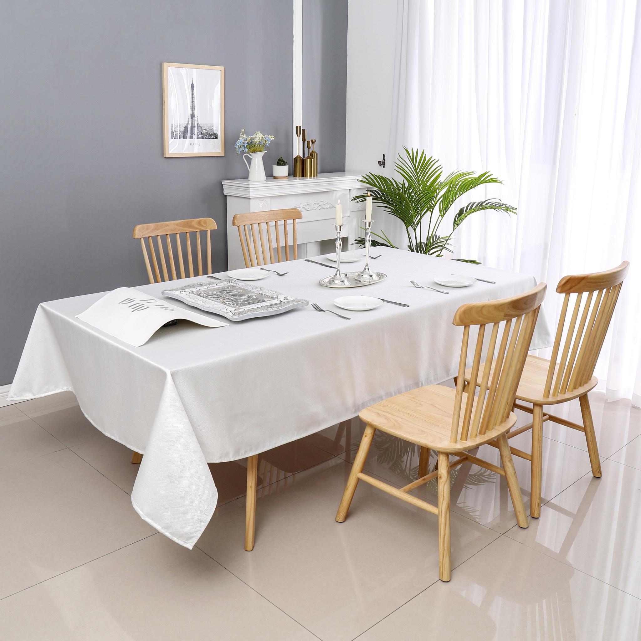 TC1335- 70 x 144 Jacquard  Desert White Silver Tablecloth