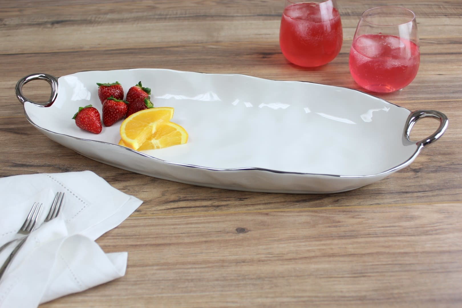 Deep Handle White & Silver Oval Platter