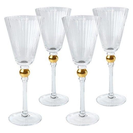 Artland Jewel Gold Wine Glass S/4