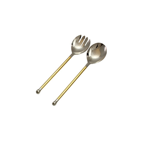 Pateesh Non Hammered Gold Accent Serving Spoons