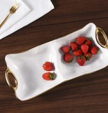 White & Gold Handle 2 Section Platter