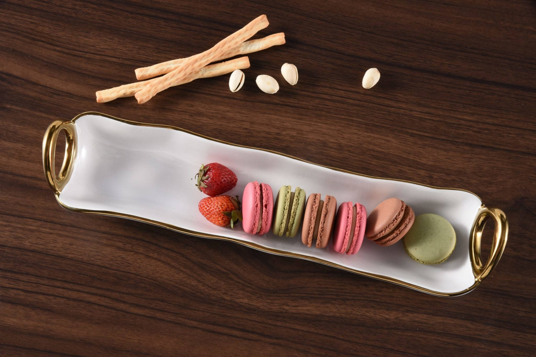 White & Gold Handle Cracker Tray