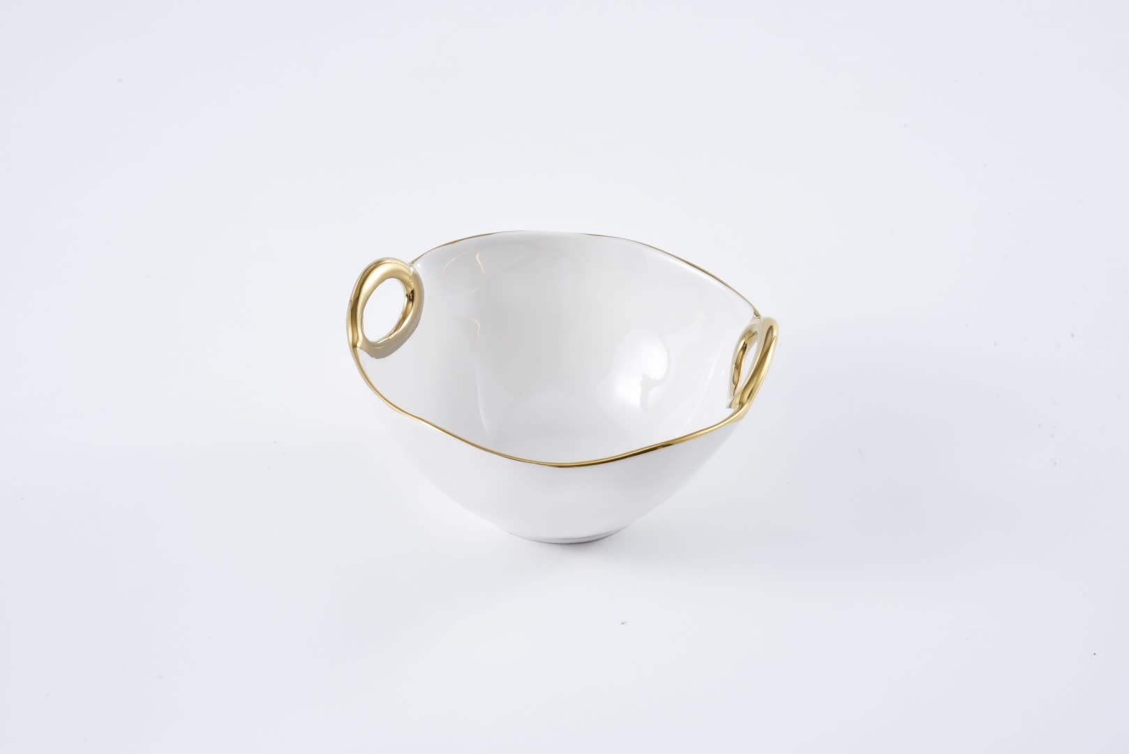 White & Gold Handle Small Bowl