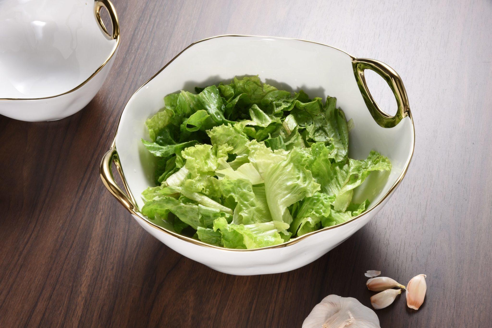 White & Gold Handle Large Bowl