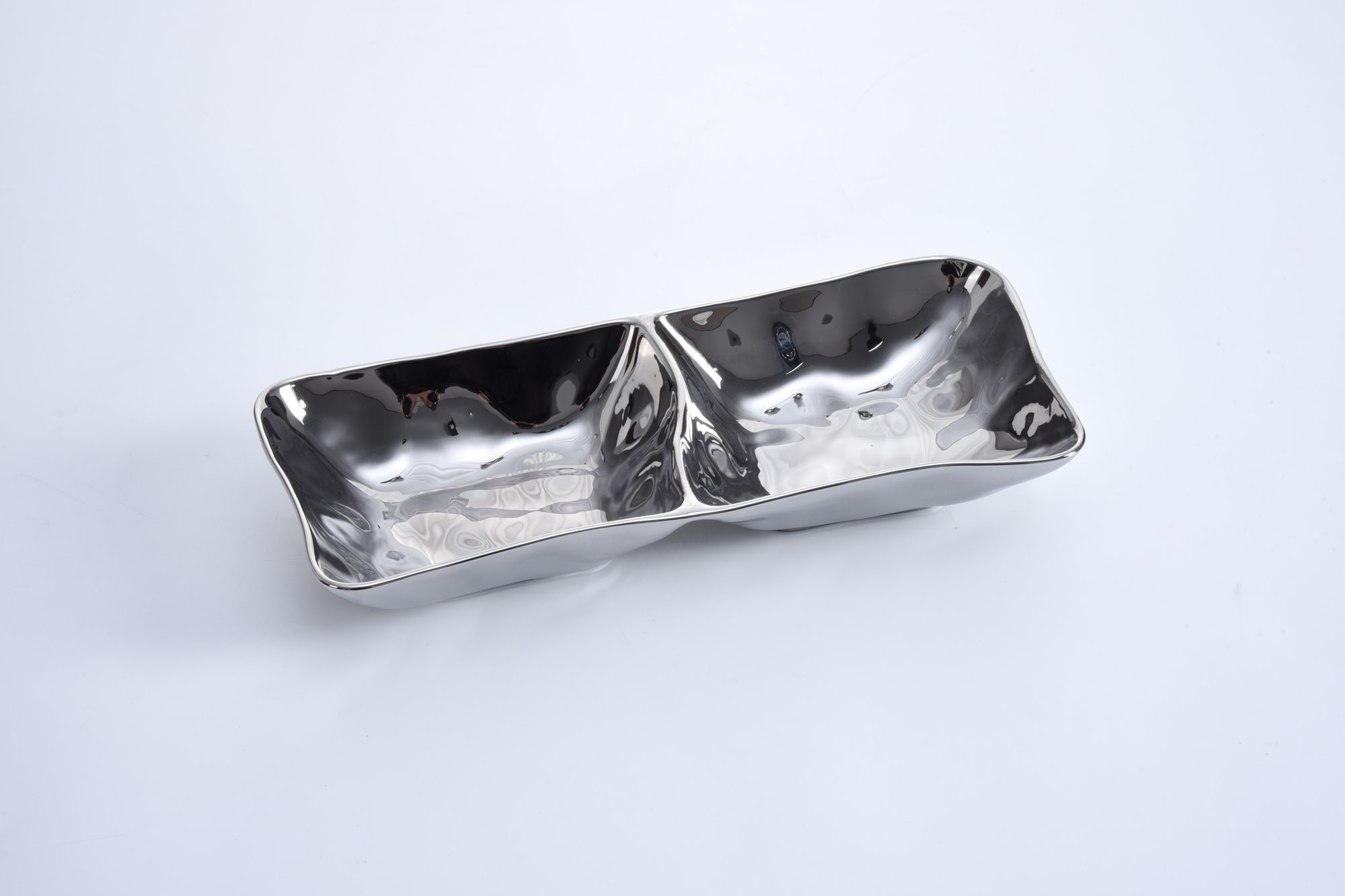 2 Section Simple Ceramic Silver Platter