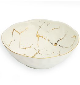 Small White Bowl With Gold Design
