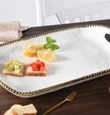 Ceramic White & Gold Beaded Xlarge Platter