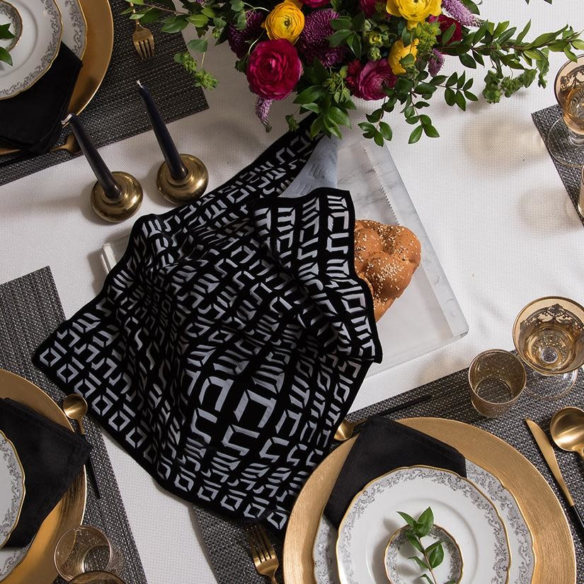 Apeloig Collection Challah Cover Hebrew Type Black