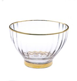 """9"""" Glass Textured Bowl With Gold Rim"""