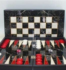 "19"" Black/White Marble Decoupage Backgammon Set"