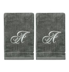 2 Dark Gray Towels with Silver Letter A