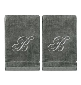 2 Dark Gray Towels with Silver Letter B