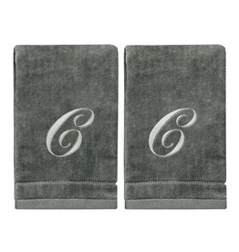 2 Dark Gray Towels with Silver Letter C