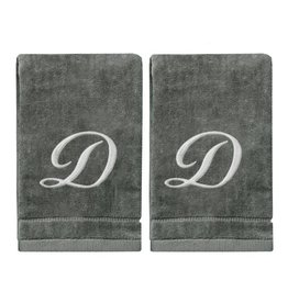 2 Dark Gray Towels with Silver Letter D