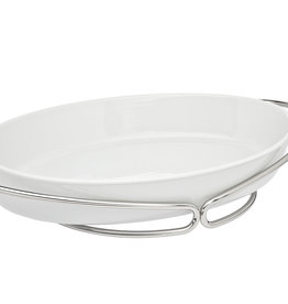 Silver and White Porcelain Oval Baker
