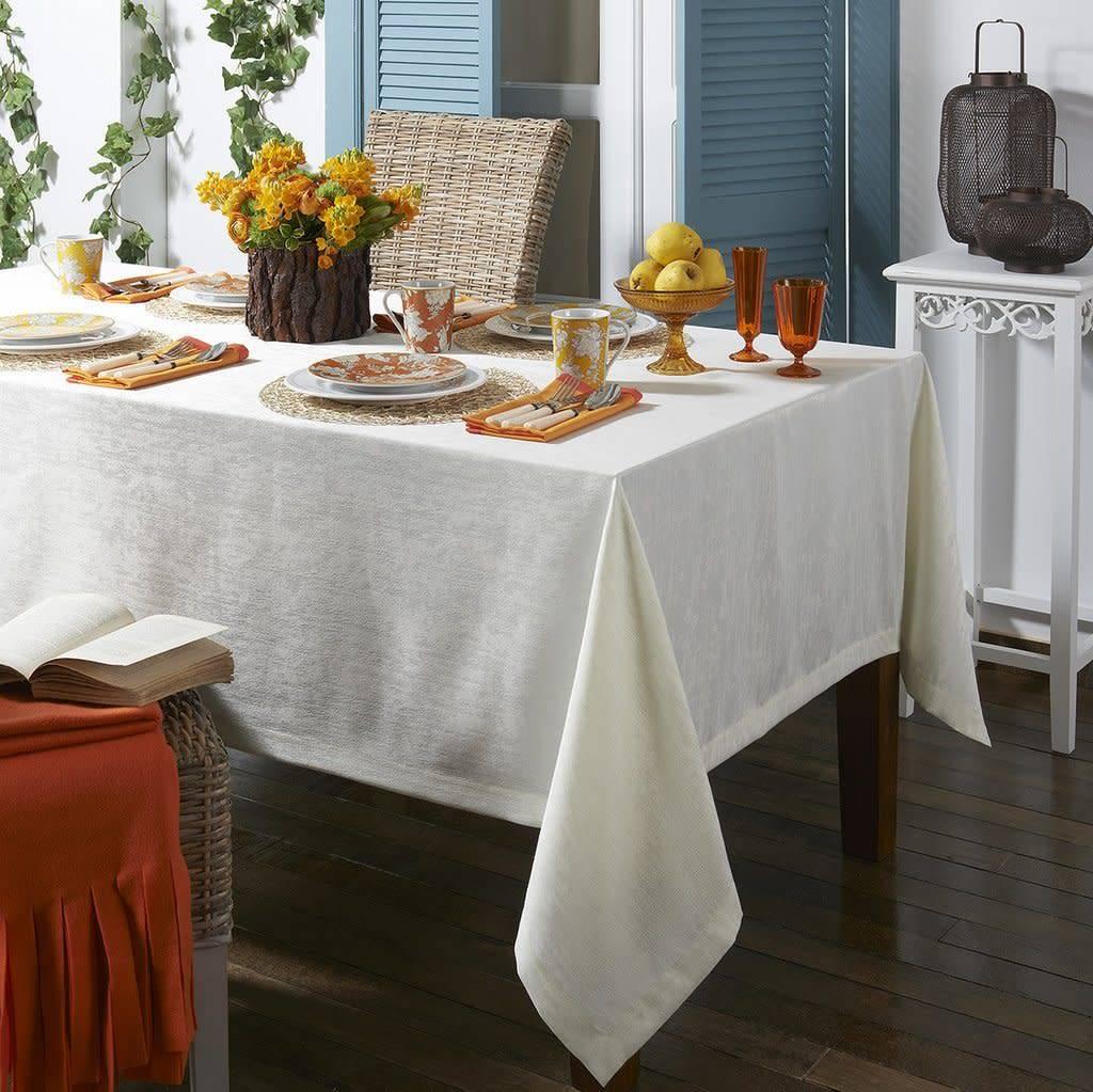 Lisbon White Tablecloth 66 x 128
