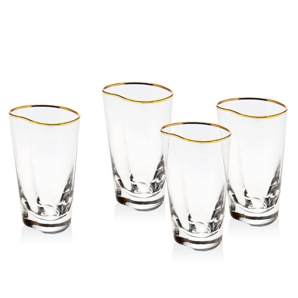 Godinger Gold Banded Highball Glasses s/4