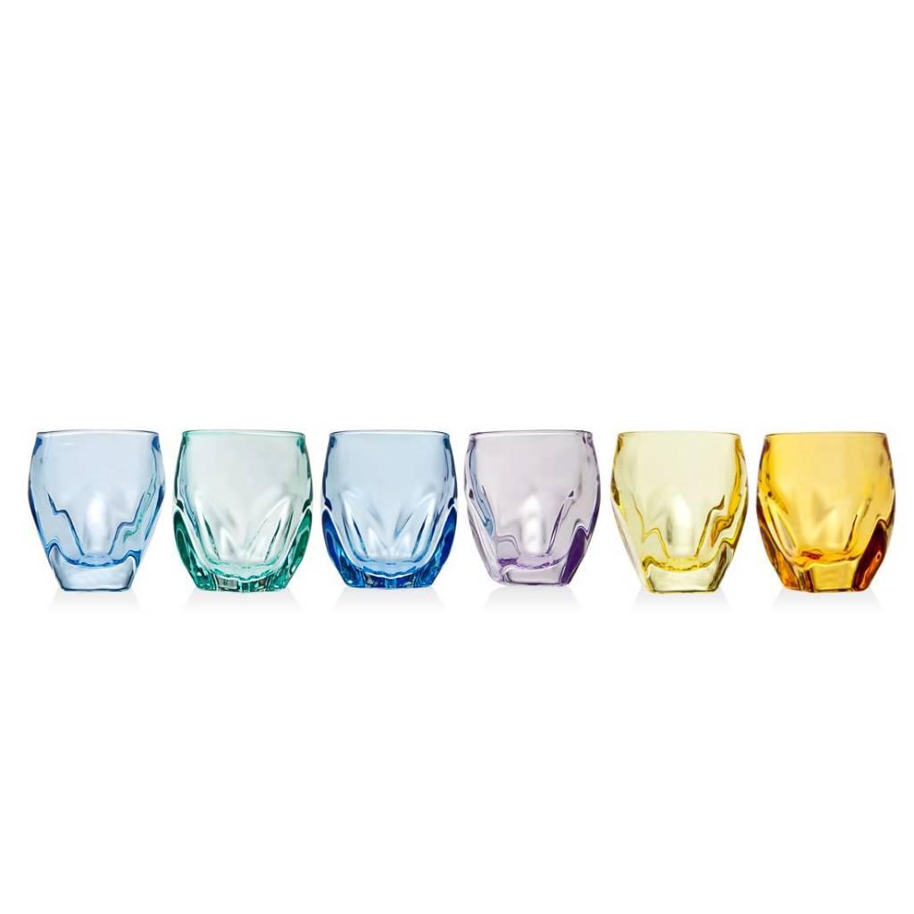 Godinger Silver Art Co Stockholm Colorful Set of 6 Shot Glasses