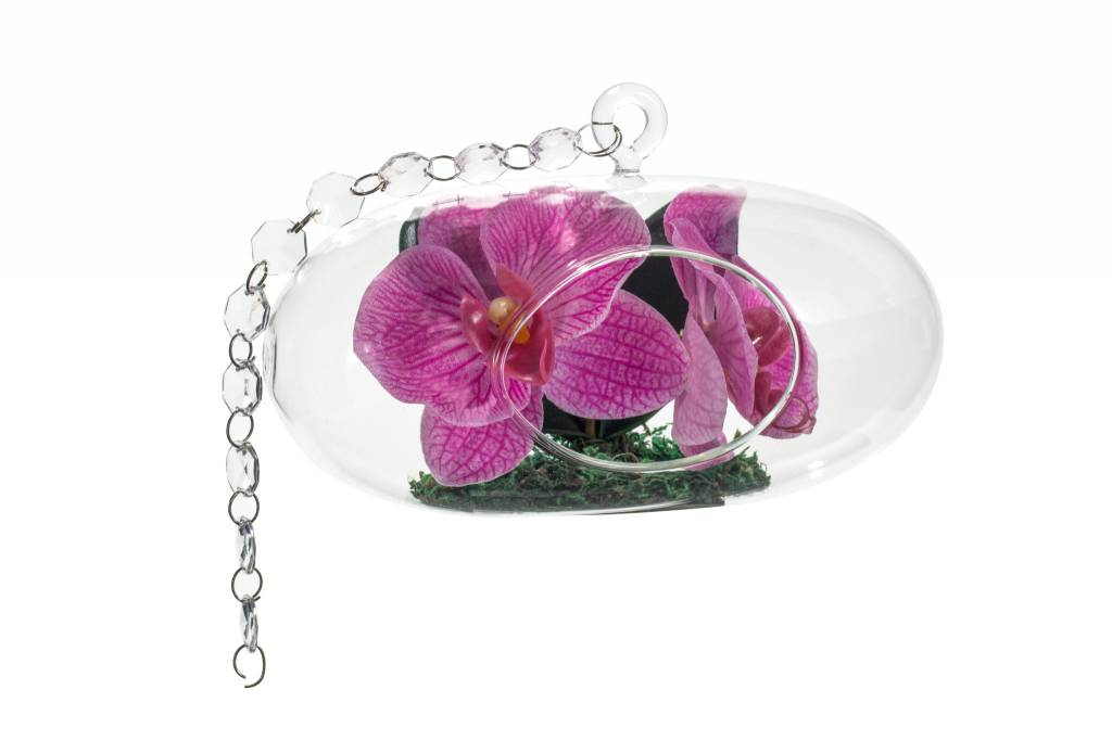 Oval Hanging Glass with Pink Orchid