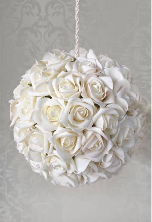 """White Foam Flower Ball 8"""""""