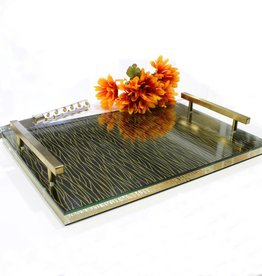 Waterdale Collection Lucite Gold/Black Challah Board