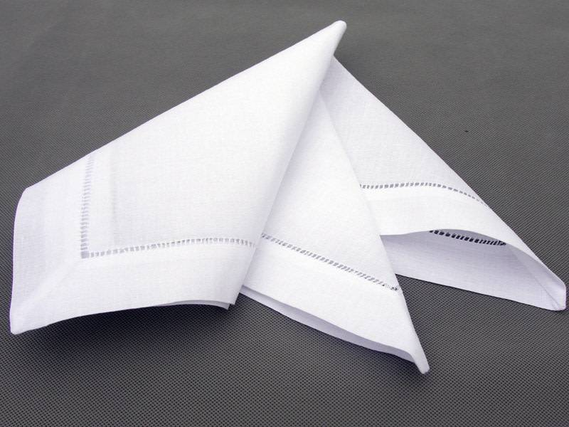 Hemstitched White Napkins