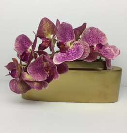 Sleek Gold Planter w Orchids
