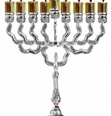 Floral Silver Plated Menorah