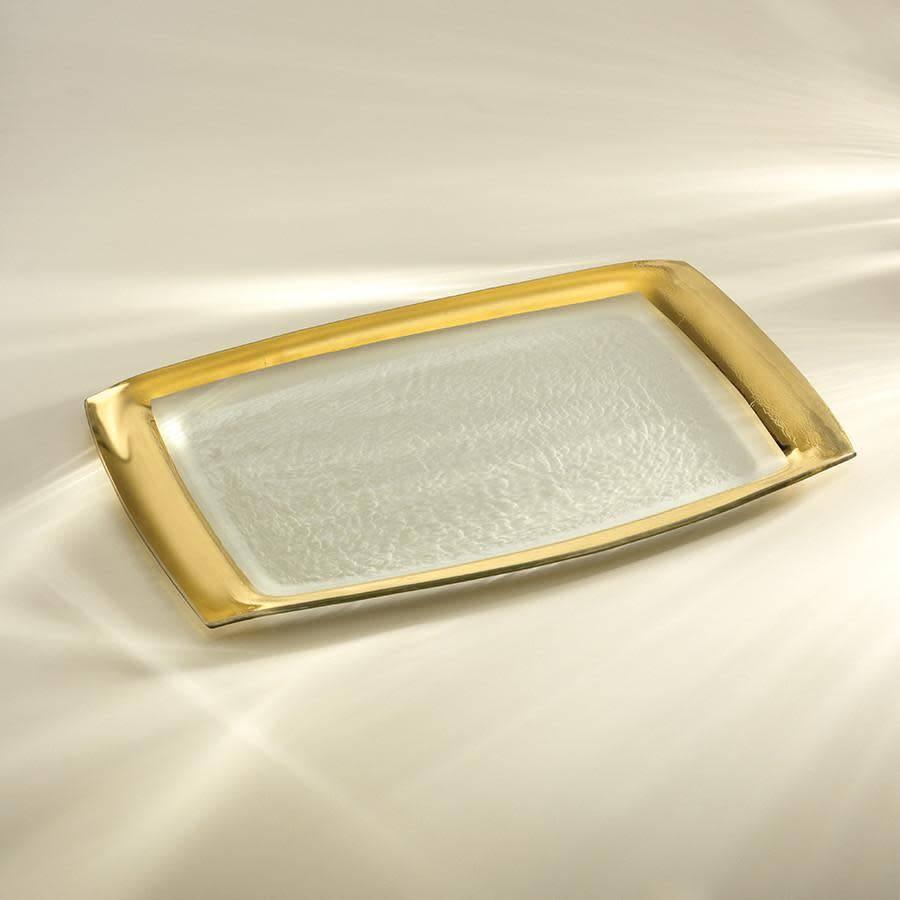 Annie Glass Gold Rectangular Tray 12 x 18