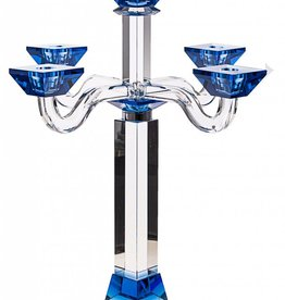Large Blue Crystal 5 Branch Candelabra