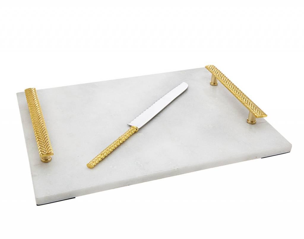 Herringbone Marble Board with knife