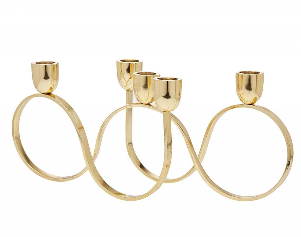 5 light gold candle holder