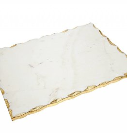White marble board with gold edges