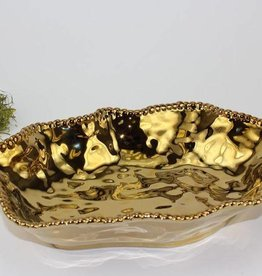 Ceramic beaded Gold oval bowl