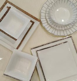 Gold square hammered dinnerware s/6