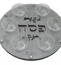 Seder plate with glass cut of pomegranate