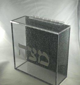 Lucite square Black glitter matzah box