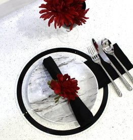 Waterdale Collection Black Line Round Lucite Chargers