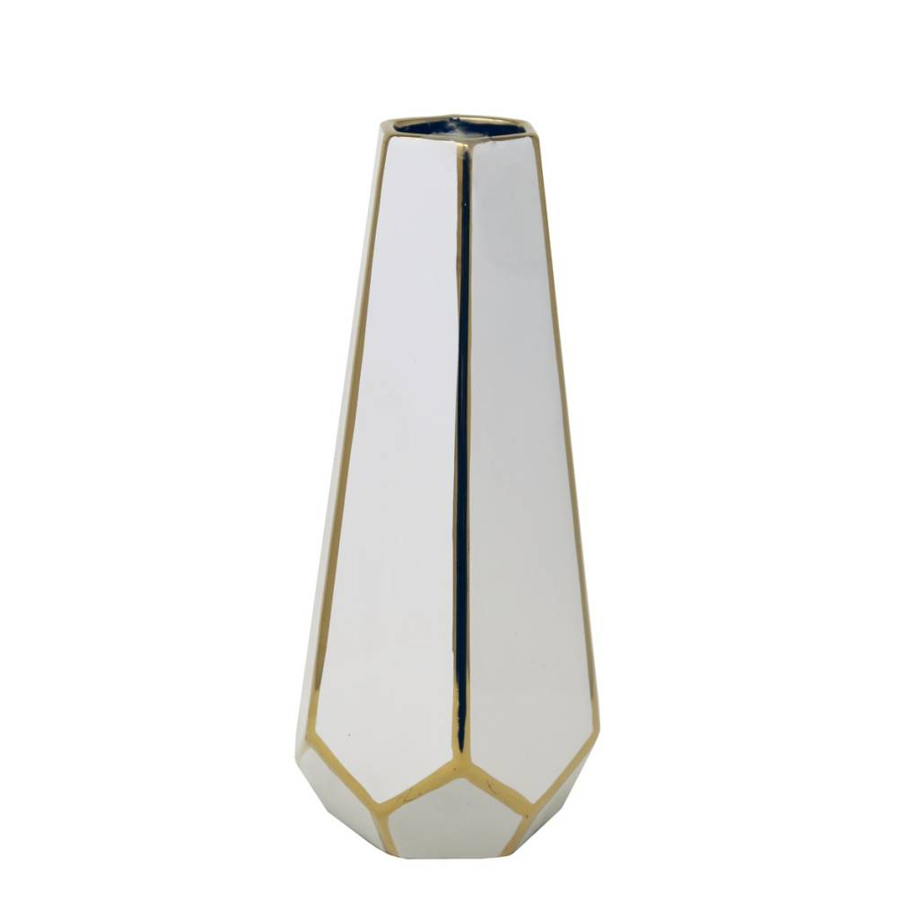 Ceramic white and gold vase