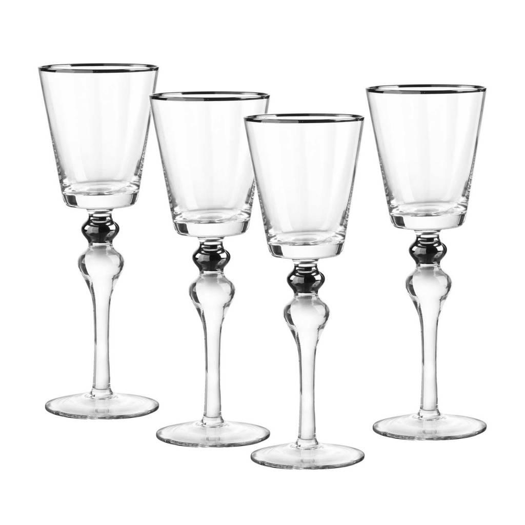 Dominion silver wine glasses s/4