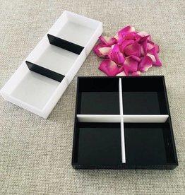 Black & white three sectional tray