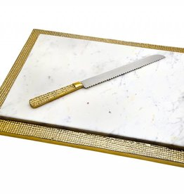 Godinger White marble/Gold burlap board with Knife