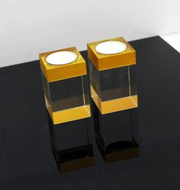 Crystal Tea Light Gold set of 2